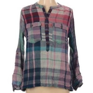 Soft Surroundings gray green pink flannel top XS
